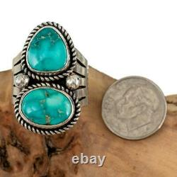 TURQUOISE RING Sterling Silver SONORAN GOLD ALBERT JAKE Native American 7 Old St