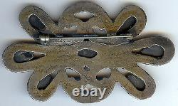 Terrific Vintage Navajo Indian Cast Silver Turquoise Pin Brooch