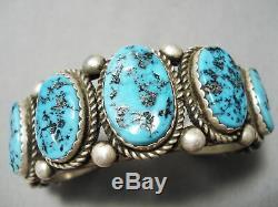Tremendous Vintage Navajo Blue Turquoise Sterling Silver Bracelet Cuff