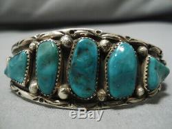 Tremendous Vintage Navajo Green Turquoise Sterling Silver Marc James Bracelet