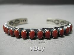 Tremendous Vintage Navajo Intense Oval Red Coral Sterling Silver Bracelet