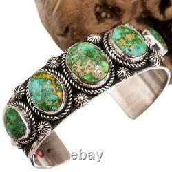 Turquoise Bracelet SONORAN GOLD Sterling Silver Navajo Spiderweb A+ ALBERT JAKE