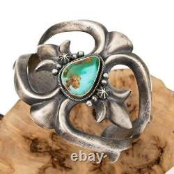Turquoise Bracelet Sterling Silver HARRISON BITSUE SANDCAST Old Pawn Style