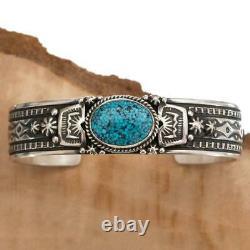 Turquoise Bracelet Sterling Silver Natural Kingman Spiderweb HAPPY PIASSO NAVAJO