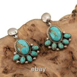 Turquoise Cluster Earrings Sterling Silver Cluster Dangles Old Pawn Style YAZZIE