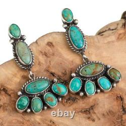 Turquoise Earrings Sterling Silver Cluster Dangles Native American Natural Old S