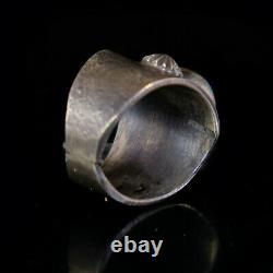 Turquoise Mens Ring Vintage Style Silver Native American Jewelry Navajo Large