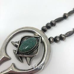 Turquoise Navajo Naja Necklace Sandcast 60g Sterling VTG Handmade Beads
