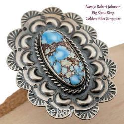 Turquoise Ring GOLDEN HILLS Robert Johnson 7.5 Teacher Kirk Smith BIG Old style