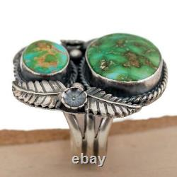 Turquoise Ring SONORAN GOLD Squash Blossom Robert Johnson Trained Kirk Smith 8.5