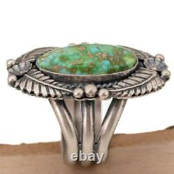 Turquoise Ring SONORAN GOLD Squash Blossom Trained by Kirk Smith Navajo sz 10