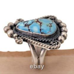 Turquoise Ring Squash Blossom GOLDEN HILLS Robert Johnson 6 Teacher Kirk Smith