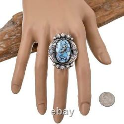 Turquoise Ring Squash Blossom GOLDEN HILLS Robert Johnson 9 Teacher Kirk Smith