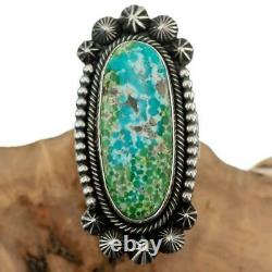 Turquoise Ring Sterling Silver AARON TOADLENA Natural SONORAN GOLD 7 Navajo