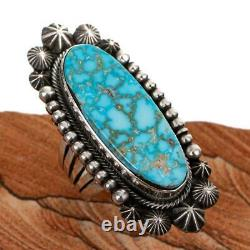 Turquoise Ring Sterling Silver AARON TOADLENA Natural Spiderweb Kingman 7 1/4