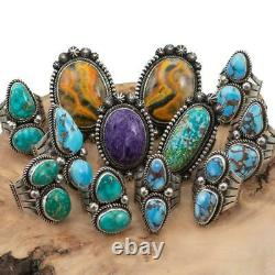 Turquoise Ring Sterling Silver AARON TOADLENA Natural Spiderweb Kingman 9