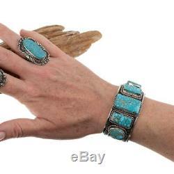 Turquoise Ring Sterling Silver AARON TOADLENA Natural Spiderweb Kingman 9 Navajo