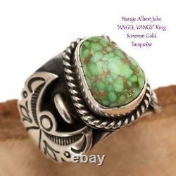Turquoise Ring Sterling Silver ANGEL WINGS Sonoran Gold ALBERT JAKE 6.5 Navajo