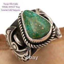 Turquoise Ring Sterling Silver ANGEL WINGS Sonoran Gold ALBERT JAKE 6 Navajo