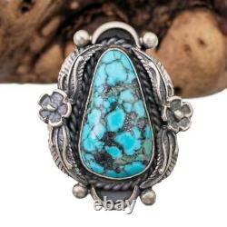 Turquoise Ring Sterling Silver Robert Johnson SQUASH BLOSSOM Teacher- Kirk Smith