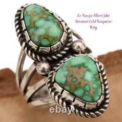 Turquoise Ring Sterling Silver SONORAN GOLD 7.5 Native American ALBERT JAKE