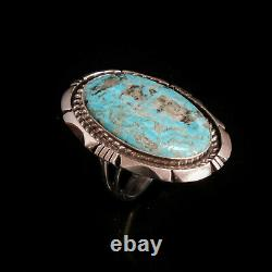 Turquoise Ring Vintage Style Silver Native American Jewelry Navajo Large