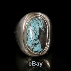 Turquoise Ring Vintage Style Silver Native American Jewelry Navajo Large Boho