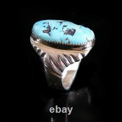Turquoise Ring Vintage Style Silver Native American Jewelry Navajo Mens Large