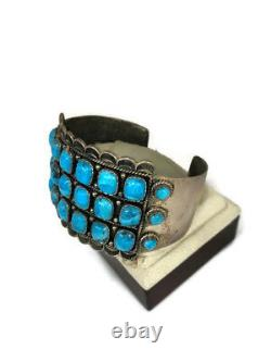 Turquoise Sterling Silver Native American Bracelet Cuff Vintage Jewelry Old Nice