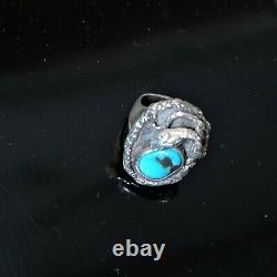 Un Signed Navajo Sterling Silver Blue Turquoise Southwest Snake Signet Ring sz 9
