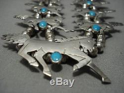 Unique Vintage Navajo Horse Turquoise Sterling Silver Squash Blossom Necklace