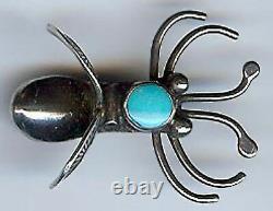 Unusual Dimensional Vintage Navajo Indian Sterling Silver Flying Bug Pin Brooch