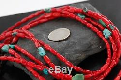 VINTAGE $500Tag 5 Strand Navajo Silver Turquoise Coral Native American Necklace