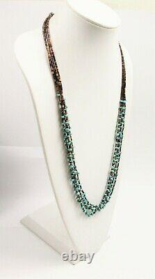 VINTAGE Jewelry NATIVE AMERICAN MULTI STRAND TURQUOISE NUGGET & HEISHI NECKLACE