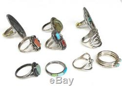 VINTAGE LOT OF 10 Native American STERLING RINGS Excellent sz. 7 46g