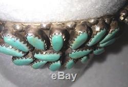 VINTAGE Native American Turquoise & Sterling Bracelet Navajo Signed P. Jones