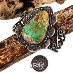 VINTAGE Navajo Turquoise Bracelet Sterling Silver Natural OLD PAWN Oscar Alexius