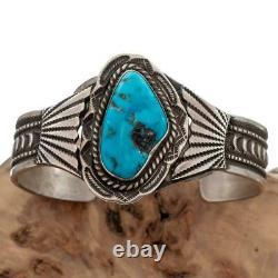 VINTAGE Navajo Turquoise Sterling Silver Bracelet Cuff Mens Large Old Pawn EHALE