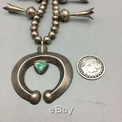 VINTAGE! Sterling Silver & Turquoise Squash Blossom Necklace