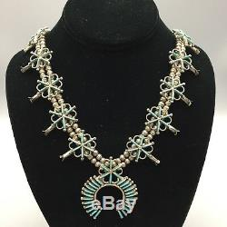 VINTAGE! ZUNI! Needlepoint Turquoise and Sterling Silver Squash Blossom Necklace