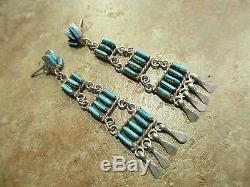 VINTAGE Zuni Sterling Silver NEEDLEPOINT Turquoise CHANDELIER Ladder Earrings