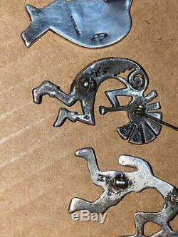 VTG Native American Jewelry, Sterling Silver Kokopelli, Buckles, brooches Ring Lot
