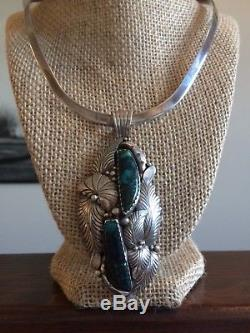 VTG Native American LARGE Turquoise Pendant R arrow Sterling Silver Necklace 925