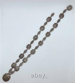VTG Native American Navajo Sterling Silver Turquoise Concho Necklace 28g #g54