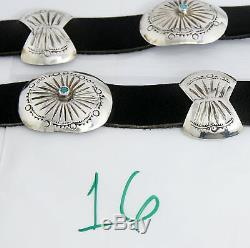 VTG Navajo Indian Handmade. 925 Silver Blue Turquoise Concho Belt