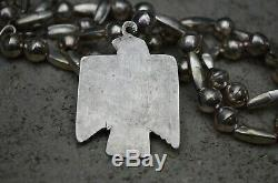 VTG Old Pawn Navajo Necklace Silver Fred Harvey Thunderbird Pendant & Beads