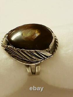 VTG PAWN NATIVE STERLING SILVER FIRE AGATE MEXICAN OPAL NAVAJO FEATHER RING 10g