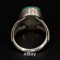 VTG Sterling Silver NAVAJO Signed D Turquoise Stone Ring Size 8.5 7g