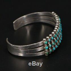 VTG Sterling Silver NAVAJO ZUNI Turquoise Snake Eye 6.25 Cuff Bracelet 22g