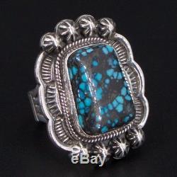 VTG Sterling Silver ZUNI Pueblo Nahohai Lander Blue Turquoise Ring Size 7 17g